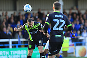 Anthony Kay wins a header during the EFL Sky Bet League 1 match between Rochdale and Bury at Spotland, Rochdale, England on 15 October 2016. Photo by Daniel Youngs.