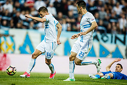 Roman Bezjak #14 of HNK Rijeka with Franko Andrijasevic #23 of HNK Rijeka during football match between HNK Rijeka and GNK Dinamo Zagreb in Round #27 of 1st HNL League 2016/17, on November 5, 2016 in Rujevica stadium, Rijeka, Croatia. Photo by Grega Valancic / Sportida