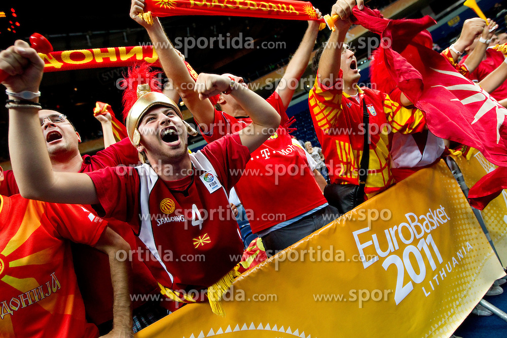 Fans of Macedonia celebrate after the basketball game between National basketball teams of  Georgia and Former Yugoslav Republic of Macedonia at FIBA Europe Eurobasket Lithuania 2011, on September 8, 2011, in Siemens Arena,  Vilnius, Lithuania. Macedonia defeated Georgia 65-63. (Photo by Vid Ponikvar / Sportida)
