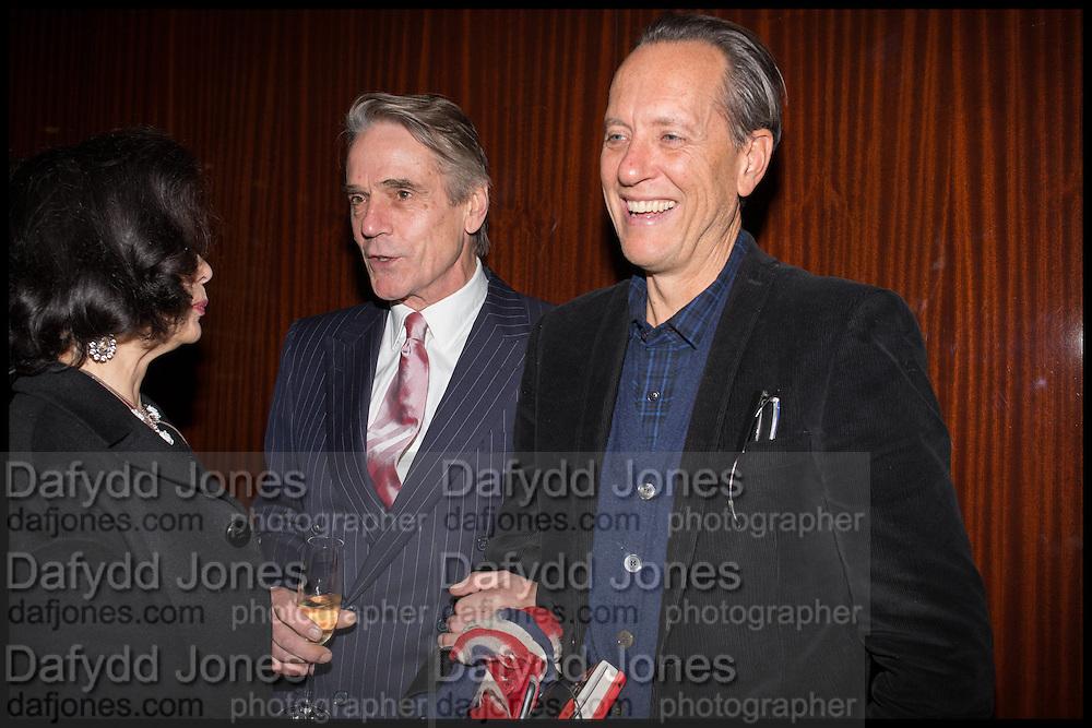 BIANCA JAGGER; JEREMY IRONS; RICHARD E. GRANT, Liberatum Cultural Honour for Francis Ford Coppola<br /> with Bulgari Hotel & Residences, London. 17 November 2014