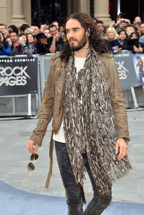 10.JUNE.2012. LONDON<br /> <br /> RUSSELL BRAND ALONG WITH HIS MUM BARBARA ATTENDS THE UK FILM PREMIERE OF ROCK OF AGES AT THE ODEON CINEMA IN LEICESTER SQUARE.<br /> <br /> BYLINE: JO ALVAREZ/EDBIMAGEARCHIVE.CO.UK<br /> <br />  *THIS IMAGE IS STRICTLY FOR UK NEWSPAPERS AND MAGAZINES ONLY*<br /> *FOR WORLD WIDE SALES AND WEB USE PLEASE CONTACT EDBIMAGEARCHIVE - 0208 954 5968*
