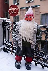 Model of Troll in Gamla Stan old town district in winter in Stockholm Sweden
