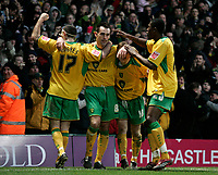 Peter Thorne celebrates after scoring.<br /> Norwich City v Watford, Cocal Cola Championship, 21/01/06. Photo by Barry Bland