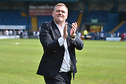 The Bury chairman applauds the bury supporters  during the Sky Bet League 1 match between Bury and Southend United at the JD Stadium, Bury, England on 8 May 2016. Photo by Mark Pollitt.