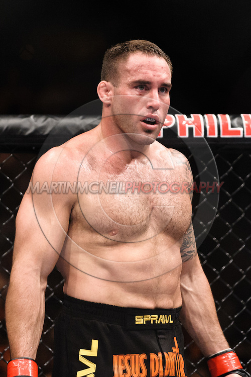 "ATLANTA, GEORGIA, SEPTEMBER 6, 2008: Jason Lambert stands ready between rounds during ""UFC 88: Breakthrough"" inside Philips Arena in Atlanta, Georgia on September 6, 2008"