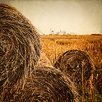 hay bales in the countryside with industry in the background