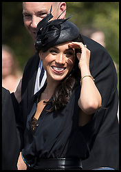 August 4, 2018 - Frensham, United Kingdom - Image licensed to i-Images Picture Agency. 04/08/2018. Frensham , United Kingdom.  The Duchess of Sussex arriving at the wedding of Charlie Van Straubenzee and Daisy Jenks  in Frensham, Surrey, United Kingdom. (Credit Image: © Stephen Lock/i-Images via ZUMA Press)