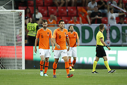 (L-R) Davy Propper of Holland, Kevin Strootman of Holland, Daley Blind of Holland during  the International friendly match between Slovakia and The Netherlands at Stadium Antona Malatinskeho on May 31, 2018 in Trnava, Slovakia