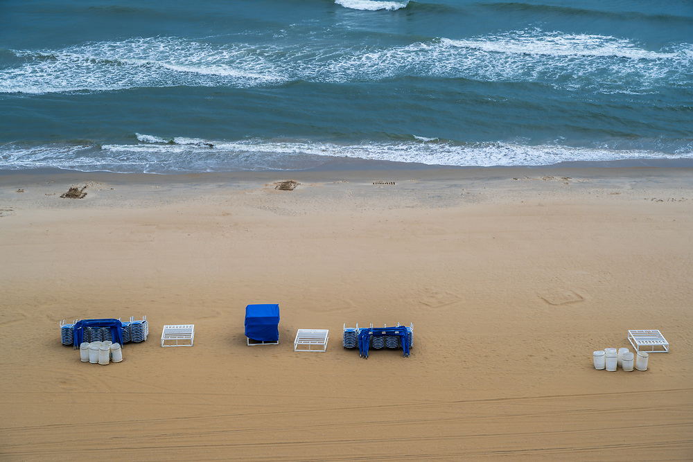 Photo of Virginia Beach in late afternoon after people have left the beach.