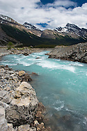 Glacial melt feeding the Athabasca River, Icefield Parkway and Columbia Icefield in Jasper National Park, Alberta, Canada