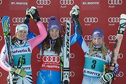 09.12.2012, Engiadina Rennstrecke, St. Moritz, SUI, FIS Ski Alpin Weltcup, Riesenslalom, Damen, Podium, im Bild Viktoria Rebensburg (GER), Tina Maze (M.SLO) und Tessa Worley (R.FRA) auf dem Podium on Podium // after ladies Super G of FIS ski alpine world cup at the Engiadina course, St. Moritz, Switzerland on 2012/12/09. EXPA Pictures © 2012, PhotoCredit: EXPA/ Freshfocus/ Andreas Meier..***** ATTENTION - for AUT, SLO, CRO, SRB, BIH only *****