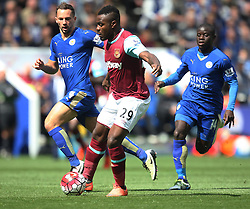 Emmanuel Emenike of West Ham United in action against Daniel Drinkwater (L) and Ngolo Kante of Leicester City (R) - Mandatory by-line: Jack Phillips/JMP - 17/04/2016 - FOOTBALL - King Power Stadium - Leicester, England - Leicester City v West Ham United - Barclays Premier League