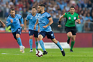 SYDNEY, AUSTRALIA - APRIL 13: Sydney FC player midfielder Anthony Caceres (17) dribbles the ball at round 25 of the Hyundai A-League Soccer between Western Sydney Wanderers and Sydney FC  on April 13, 2019 at ANZ Stadium in Sydney, Australia. (Photo by Speed Media/Icon Sportswire)