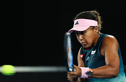 MELBOURNE, Jan. 15, 2019  Naomi Osaka of Japan returns the ball during the women's singles first round match against Magda Linette of Poland at the Australian Open in Melbourne, Australia, Jan. 15, 2018. (Credit Image: © Bai Xuefei/Xinhua via ZUMA Wire)