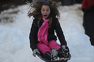 sledding-fake snow