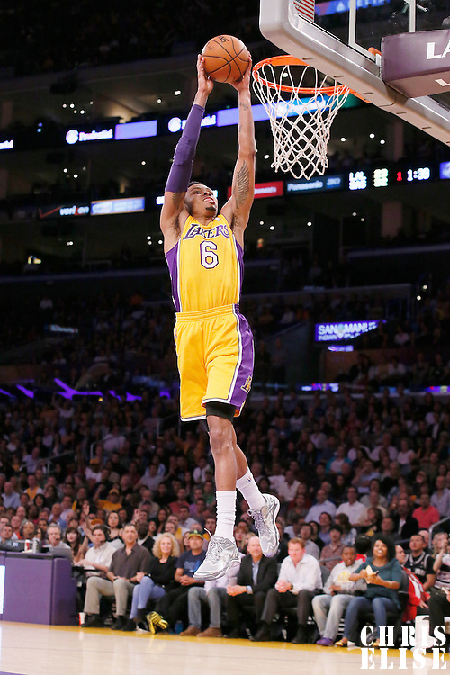 19 March 2014: Los Angeles Lakers guard Kent Bazemore (6) goes for the dunk during the San Antonio Spurs 125-109 victory over the Los Angeles Lakers at the Staples Center, Los Angeles, California, USA.