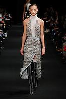 Ine Neefs (DNA) walks the runway wearing Altuzarra Fall 2015 during Mercedes-Benz Fashion Week in New York on February 14, 2015