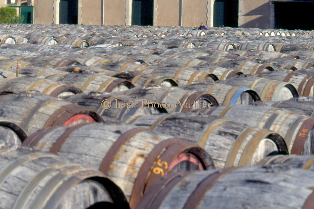 France, Languedoc and Roussillon.  Marseillan Noilly-Prat with barrels in the yard.