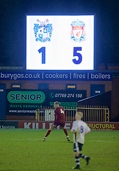 BURY, ENGLAND - Wednesday, March 6, 2019: The scoreboard records Liverpool's 5-1 victory during the FA Youth Cup Quarter-Final match between Bury FC and Liverpool FC at Gigg Lane. (Pic by David Rawcliffe/Propaganda)