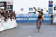 BELGIUM / KOKSIJDE / CYCLING / WIELRENNEN / CYCLISME / CYCLOCROSS / CYCLO-CROSS / VELDRIJDEN / WERELDBEKER / WORLD CUP / COUPE DU MONDE / U23 / AANKOMST / FINISH / ARRIVEE / ZIEL / LAURENS SWEECK (BEL / 2ND) /