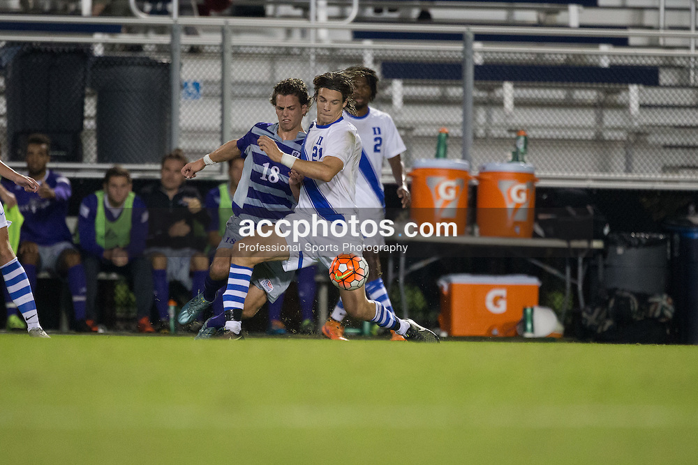 2015 October 13: Markus Fjørtoft #21 of the Duke Blue Devils during a game against the Holy Cross Crusaders in Durham, NC. Holy Cross won 1-0.