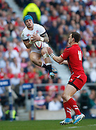 Jack Nowell of England takes a high ball from George North of Wales during the RBS 6 Nations match at Twickenham Stadium, Twickenham<br /> Picture by Andrew Tobin/Focus Images Ltd +44 7710 761829<br /> 09/03/2014