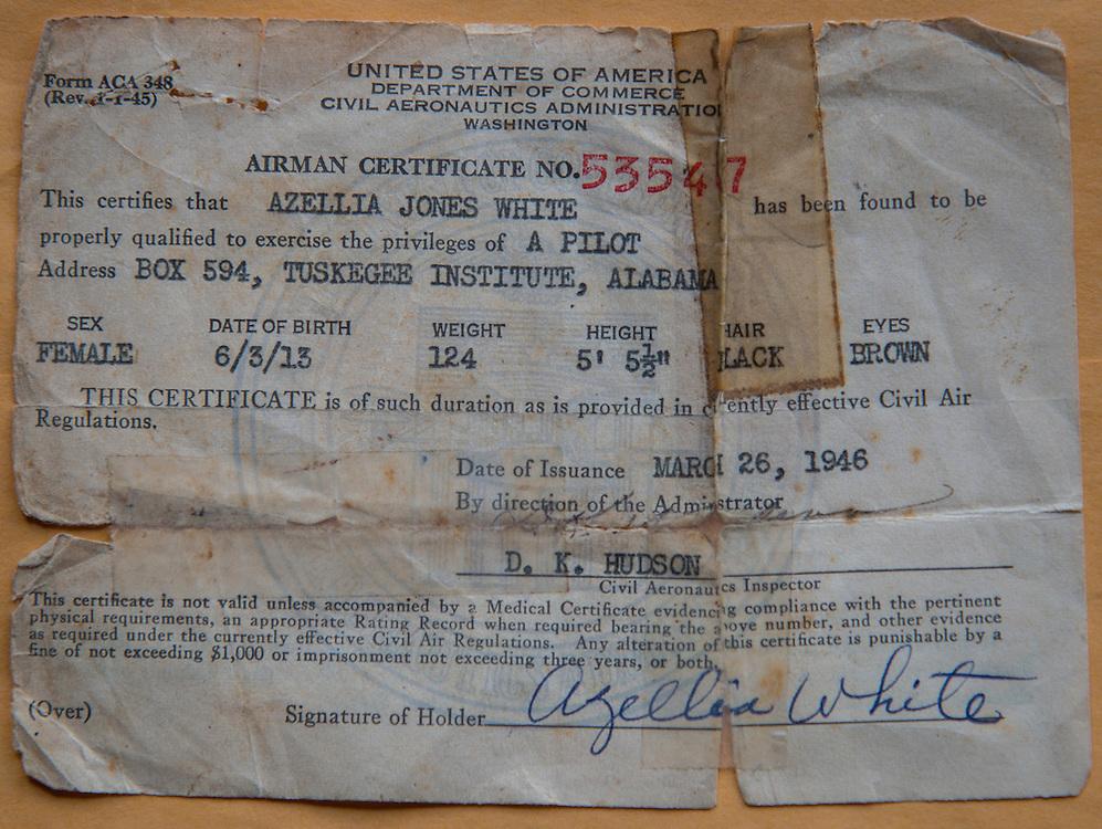 Original pilot's license of pioneering pilot Azellia White,103, at her home in Sunnyside, February 24, 2017.