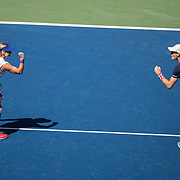2019 US Open Tennis Tournament- Day Thirteen.    Bethanie Mattek-Sands of the United States and Jamie Murray of Great Britain celebrate a point during their match against Hao-Ching Chan of Taiwan and Michael Venus of New Zealand in the Mixed Doubles Final on Arthur Ashe Stadium during the 2019 US Open Tennis Tournament at the USTA Billie Jean King National Tennis Center on September 7th, 2019 in Flushing, Queens, New York City.  (Photo by Tim Clayton/Corbis via Getty Images)