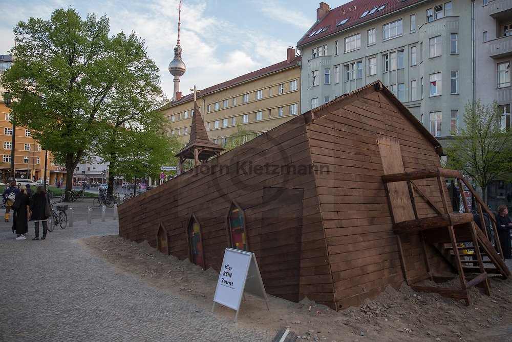 Berlin, Germany - 27.04.2017<br /> <br /> At the Rosa-Luxemburg-Platz artists have built an accessible oblique wooden church. The action was organized by the free opera group Novoflot with it&acute;s director Sven Holm.<br /> <br /> Am Rosa-Luxemburg Platz haben Kuenstler eine begehbare schiefe Holzkirche errichtet. Hinter der Aktion steckt die freie Opernkompanie Novoflot des Berliner Regisseurs Sven Holm.<br /> <br /> Photo: Bjoern Kietzmann