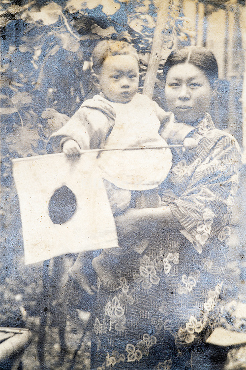 young Japanese mother with toddler ca 1930s