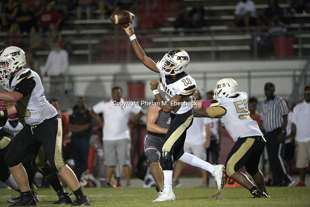 Ocoee quarterback Myles Holder (11) throws a pass during the second half of a high school football game against Edgewater Monday, Oct. 9, 2017, in Orlando, Fla. Edgewater won 44-29. (Photo by Phelan M. Ebenhack)