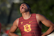 Ayden Owens of Southern California reacts after running 47.66 for the top time in the decathlon 400m during the Bryan Clay Invitational in Azusa, Calif., Wednesday, April 17, 2019.