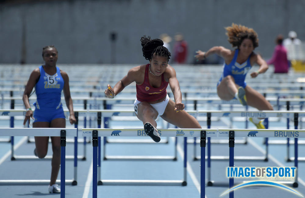 Chanel Brissett of Southern California places third in the women s 100m  hurdles in 13.34 during a. b17899d26