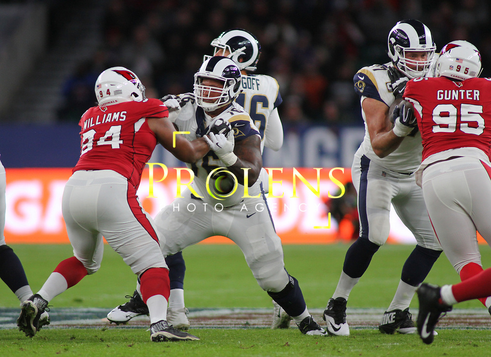 LONDON, ENGLAND - OCTOBER 22: Arizona Cardinals punter Andy Lee (2) and Los Angeles Rams offensive guard Rodger Saffold (76) during the NFL match between the Arizona Cardinals and the Los Angeles Rams at Twickenham Stadium on October 22, 2017 in London, United Kingdom. (Photo by Mitchell Gunn/ESPA-Images)