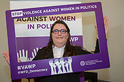 Aimee Challenor (Equalities Spokesperson, Green Party of England and Wales) 'Violence Against Women in Politics' Conference, organised by all the UK political parties in partnership with the Westminster Foundation for Democracy, 19th and 20th of March 2018, central London, UK.  (Please credit any image use with: © Andy Aitchison / WFD