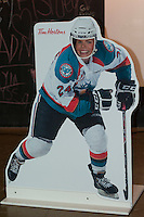 KELOWNA, CANADA - DECEMBER 5: Fans have fun with a life size Tyson Baillie #24 of Kelowna Rockets cut out on December 5, 2014 at Prospera Place in Kelowna, British Columbia, Canada.  (Photo by Marissa Baecker/Shoot the Breeze)  *** Local Caption *** Tim Hortons; Tyson Baillie
