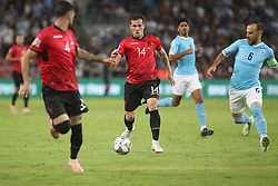 October 14, 2018 - Be'Er Sheva, Israel - Taulant Xhaka (#14) of Albania vies Bibras Natkho (#6) of Israel during UEFA Nations League C group 1 match between Israel and Albania at Turner Stadium in Be'er Sheva, Israel, on 14 October 2018. Israel won 2-0. (Credit Image: © Ahmad Mora/NurPhoto via ZUMA Press)