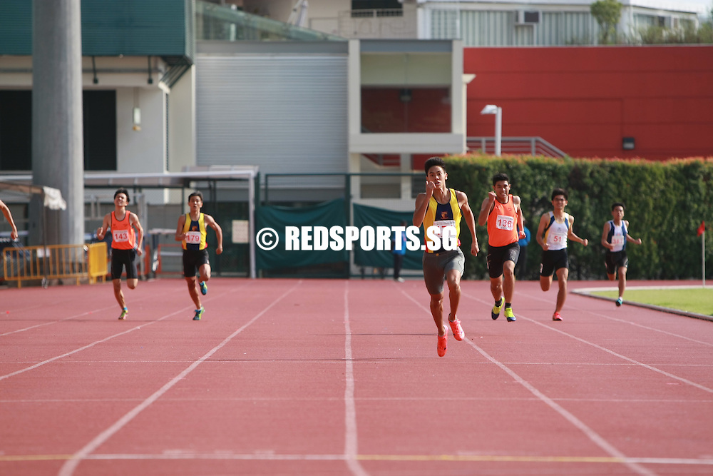 Bishan Stadium, Thursday, April 21, 2016 — Joshua Lim of Anglo-Chinese School (Independent) clocked a record-breaking 49.24 seconds to easily claim the B Division Boys' 400 metres gold at the 57th National Schools Track and Field Championships.