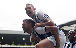Gareth McAuley of West Bromwich Albion (L) celebrates scoring his sides first goal - Mandatory by-line: Jack Phillips/JMP - 20/08/2016 - FOOTBALL - The Hawthorns - West Bromwich, England - West Bromwich Albion v Everton - Premier League