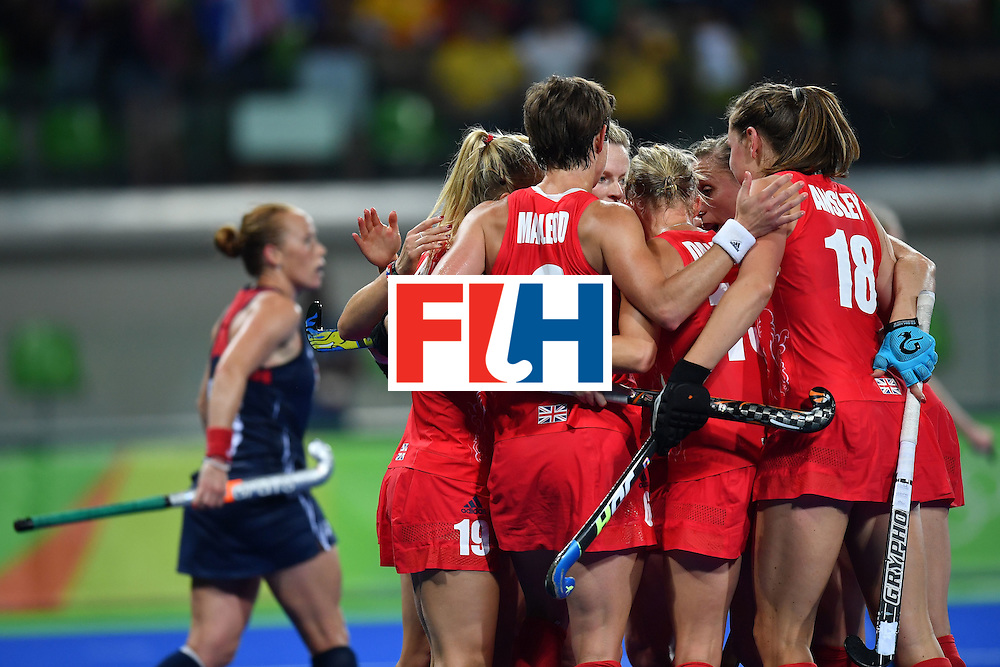 Britain's players celebrates scoring a goal during the women's field hockey Britain vs the USA match of the Rio 2016 Olympics Games at the Olympic Hockey Centre in Rio de Janeiro on August, 13 2016. / AFP / MANAN VATSYAYANA        (Photo credit should read MANAN VATSYAYANA/AFP/Getty Images)
