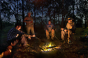 Left to right, Collin Wood, Ziggy Moeller, Robert Hodder and Lionel Swift around the moonlit camp fire. Opening of duck hunting season on the Murray Rive near Howlong. Pic By Craig Sillitoe CSZ/The Sunday Age. 19/3/2011 This photograph can be used for non commercial uses with attribution. Credit: Craig Sillitoe Photography / http://www.csillitoe.com<br />