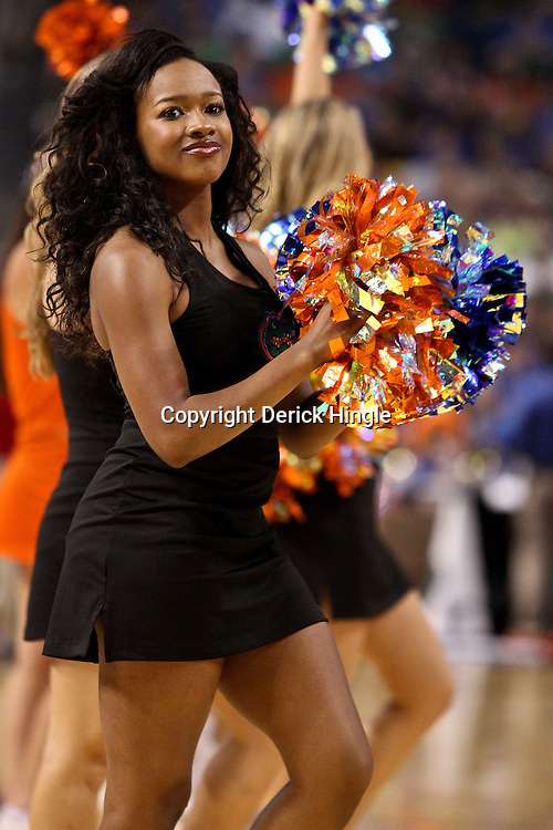 Mar 17, 2011; Tampa, FL, USA; Florida Gators cheerleaders during first half of the second round of the 2011 NCAA men's basketball tournament against the UC Santa Barbara Gauchos at the St. Pete Times Forum.  Mandatory Credit: Derick E. Hingle