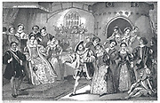 19th Century illustration showing King Henry VIII of England, at court