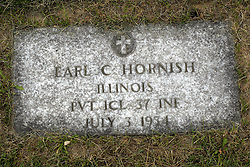 31 August 2017:   Veterans graves in Park Hill Cemetery in eastern McLean County.<br /> <br /> Earl C Hornish Illinois Private 1Cl 37 INF July 3 1934