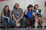 From left Hannah Britton, John Britton, Nancy Lacroix, and Benjamin Dionne traveled from Manchester, New Hampshire to attend the Shermer High School 1986 Spring Dance that's part of the Ferris Fest at the Athletico Center on, Friday, March 20, 2016, in Northbrook. (Photo by Rob Hart)