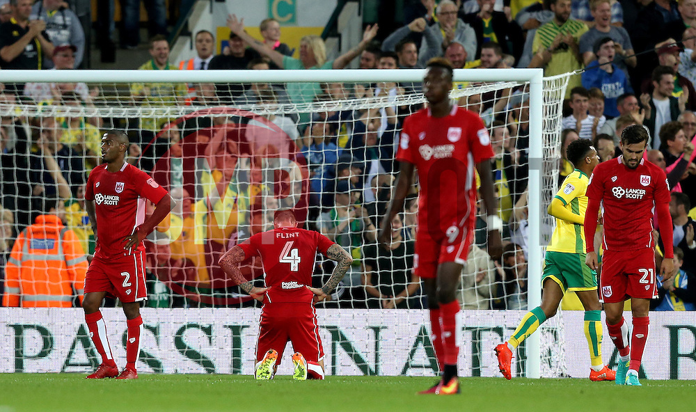 Bristol City player looks frustrated after conceding a goal to Jonathan Howson of Norwich City - Mandatory by-line: Robbie Stephenson/JMP - 16/08/2016 - FOOTBALL - Carrow Road - Norwich, England - Norwich City v Bristol City - Sky Bet Championship
