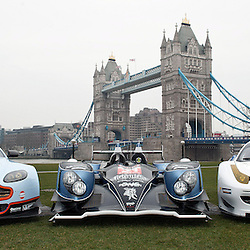 The Aston Martin, Strakka LMP1 and the RAM Racing Ferrari at the FIA-WEC series launch situated in Potters Fields overlooking Tower Bridge, London on the 22nd March 2013. WAYNE NEAL | STOCKPIX.EU