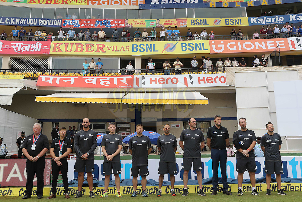 New Zealand support staff during the national anthems during day 1 of the third test match between India and New Zealand held at the Holkar stadium in Indore on the 8th October 2016.<br /> <br /> Photo by: Ron Gaunt/ BCCI/ SPORTZPICS