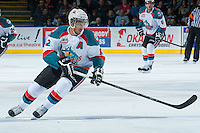 KELOWNA, CANADA - JANUARY 4: Tyrell Goulbourne #12 of the Kelowna Rockets skates against the Vancouver Giants on January 4, 2014 at Prospera Place in Kelowna, British Columbia, Canada.   (Photo by Marissa Baecker/Shoot the Breeze)  ***  Local Caption  ***