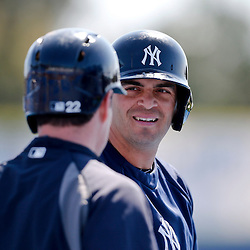 Mar 14, 2013; Dunedin, FL, USA;  during the New York Yankees shortstop Gil Velazquez (85) talks with right fielder Matt Diaz (22) before a spring training game against the Toronto Blue Jays at Florida Auto Exchange Park. Mandatory Credit: Derick E. Hingle-USA TODAY Sports